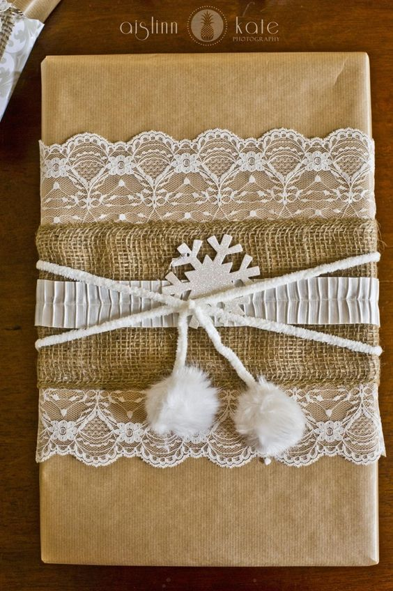 Burlap, Lace wrapping,