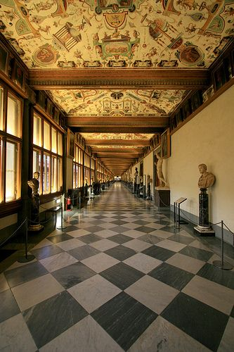 Uffizi Gallery...home of the Medici's art collection.  Florence, Italy: