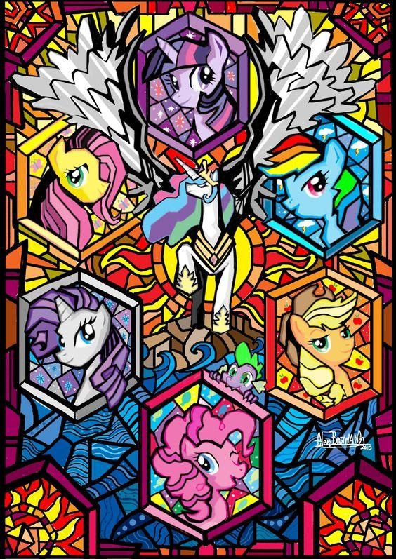 My Little Pony: Friendship is Magic Mane 6 Princess Celestia stained glass