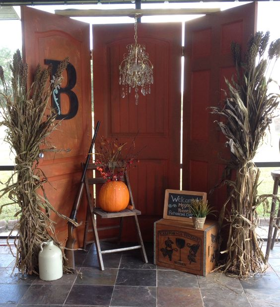 Homemade photo booth 3 old used doors painted With a yard sale chandler