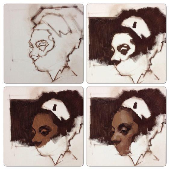 Tonight's demo, Alla Prima portrait at Sadie Valeri Atelier! Pigeon<3 http://www.feliciaforte.com/