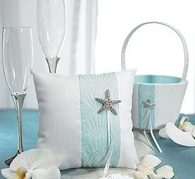 Seaside Allure Collection - Champagne Flutes, Ring Bearer Pillow and Flower Girl Basket