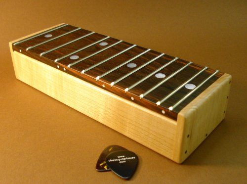 cool storage box with real fretted guitar neck hinged top