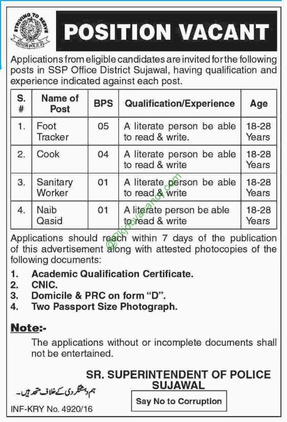 Sindh Police SSP Office District Sujawal Jobs Express Newspaper 26 December 2016