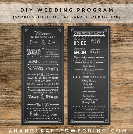 FREE Printable Wedding Program | ahandcraftedwedding.com #DIY #wedding