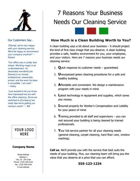 Cleaning Service Flyer - 7 Reasons Your Business Needs Our - service business plan template