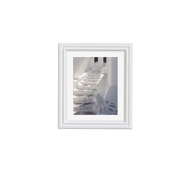 "White Stairs by Lupen Grainne, 11 x 13"", Ridged Distressed Frame, White, Mat"