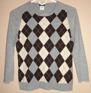 $35.95 Women's J Crew Cashmere Blend 3/4 Sleeve Multi Colored Argyle Sweater Size: XS