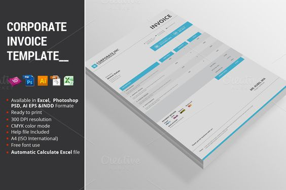 Corporate Invoice Template by alimran24 on Creative Market - free invoices to print