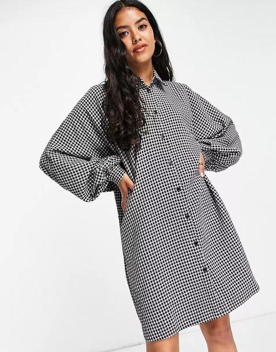 ASOS DESIGN batwing mini shirt dress in gingham