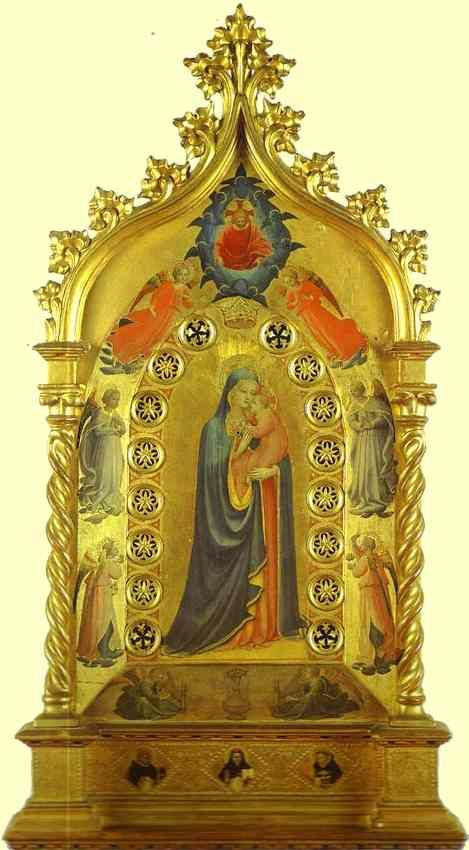Madonna della Stella, 1434, by Fra Angelico (1395 -1455).  Museo di San Marco, Florence, Italy,  Tempera on panel, 51 x 84 cm,