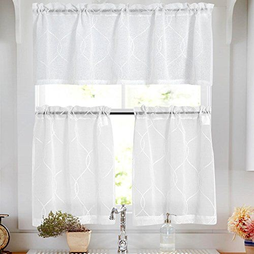 Vangao Tier Curtains White Embroidered Set With Valance Moroccan