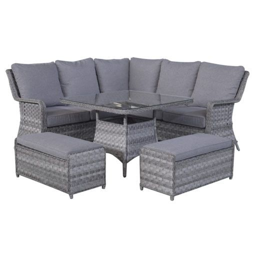 Rattan Corner Sofa 2 Stools Dining Set Mia Sofa Dining Table Corner Sofa Set Corner Sofa Dining Table