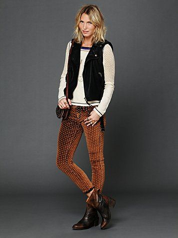 I'm in love with these pants.  Dotted Velvet Corduroy Skinny