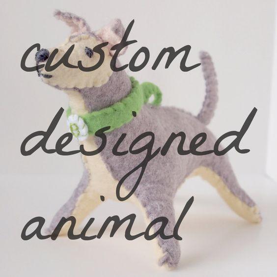 custom designed animal plush. hand stitched and made-to-order.. $45.00, via Etsy.