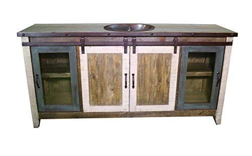 60 Inch Distressed Multi Color Farmhouse Sliding Barn Door Single Sink Bathroom Vanity Fully Assembled With Copper Drop In Sink Installed 60 Inch Multi Revie Single Bathroom Vanity Bathroom Vanity Single