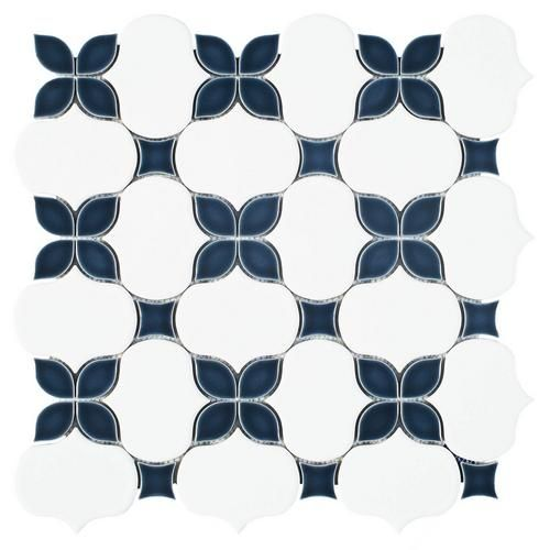 Iris Anchors Polished Porcelain Mosaic Porcelain Mosaic Mosaic Flooring Decorative Backsplash