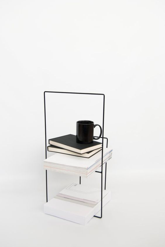 Modern metal magazine holder in black dise o for Minimal furniture