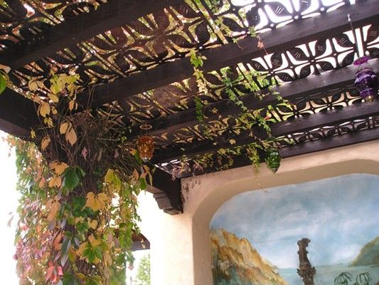 Cool tin patio covers patio pinterest copper backyards and pergola roof - Pergola climbing plants under natures roof ...