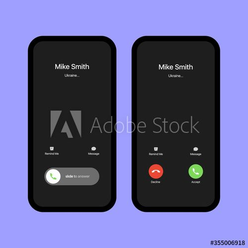 Iphone Call Screen Set Interface Slide To Answer Accept Button Decline Button Incoming Call Iphone Ios Call Screen Tem In 2021 Violet Background Iphone Templates