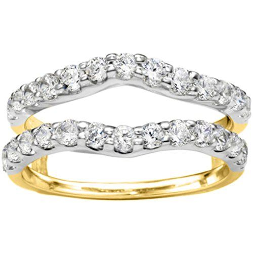 Sterling Silver Double Shared Prong Curved Ring Guard set with Cubic Zirconia (1 Ct. Twt.) - http://www.loveuniquerings.com/pear-shaped-engagement-rings/sterling-silver-double-shared-prong-curved-ring-guard-set-with-cubic-zirconia-1-ct-twt/
