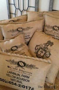 Burlap coffee bag pillows from http flyingc for Burlap bag craft ideas