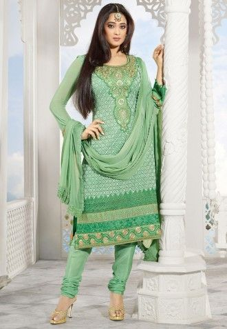 Gorgeous Pista Green Faux Georgette Kameez With Resham