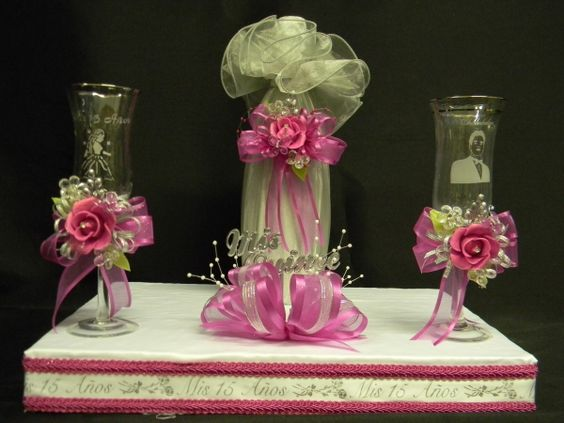 Decoracion de copas para quinceanera set cencillo de for Adornos para quinceanera