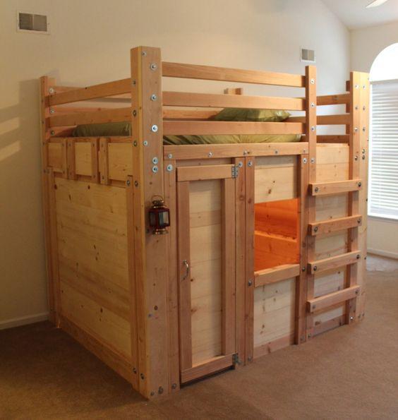 Loft Bed With Closet Underneath: DIY Bed Fort Plans - PalmettoBunkBeds.com