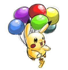 Pikachu is floating above the ground with an Air Balloon