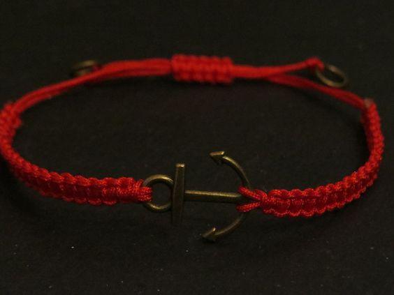 Flechtarmband Anker rot  von Bellinchen auf DaWanda.com