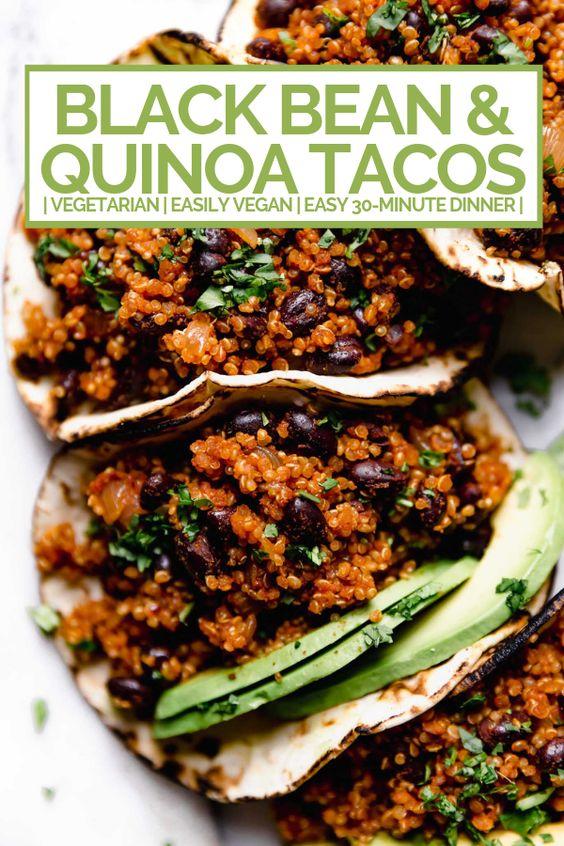 Quinoa & Black Bean Tacos (with Cilantro Lime Crema!)