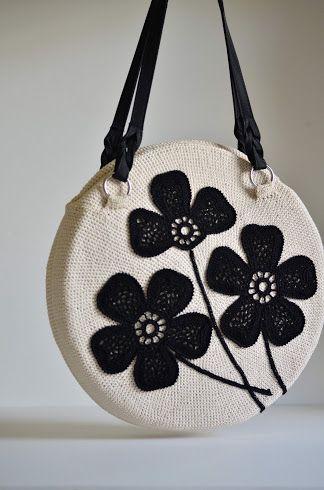 Crochet Bag with Flower Embellishment