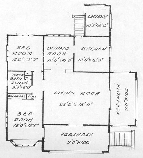 Description floor plan for porch and gable bungalow with for Floor description