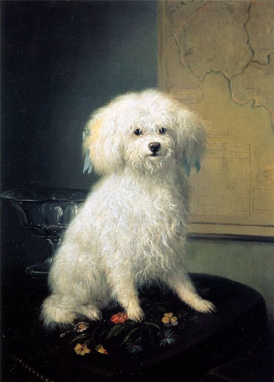 White Terrier by Henriette Ronner-Knip, Dutch artist known for paintings of dogs & cats, 1821-1909