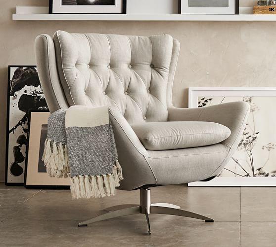 Wells Upholstered Swivel Armchair Swivel Chair Living Room Living Room Chairs White Furniture Living Room