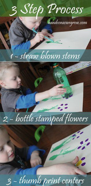 Straw blowing and stamping for flower creation