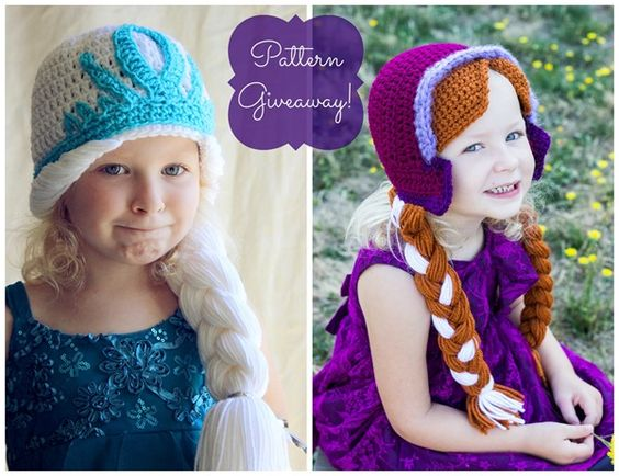 Knitting Pattern For Elsa Hat : Crocheting the Day Away: {Giveaway} Anna and Elsa Hat Crochet Patterns! fro...