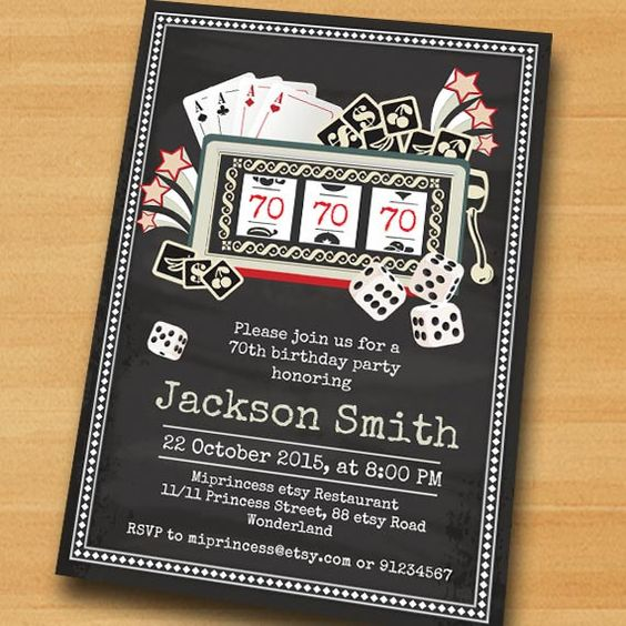 Poker Playing Card Birthday Invitation Casino Slot By