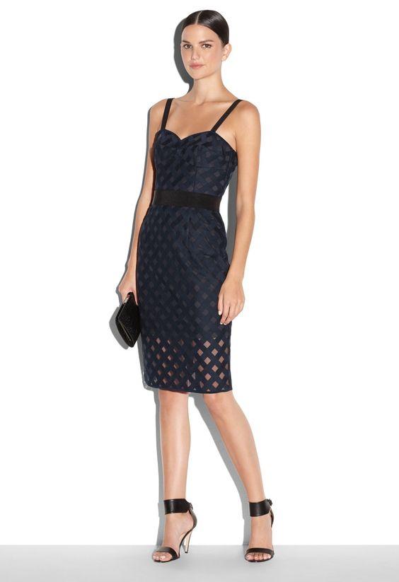 LATTICE EMBROIDERED MESH CORSET DRESS - Cocktail Dresses - Dresses ...
