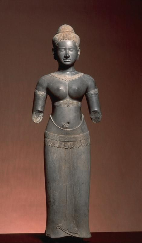 The Hindu deity Parvati Place of Origin: Cambodia, former kingdom of Angkor Date: approx. 975-1025 Materials: Sandstone Style or Ware: Baphuon Dimensions: H. 41 in x W. 13 1/2 in x D. 6 in, H. 104.1 cm x W. 34.3 cm x D. 15.2 cm Credit Line: The Avery Brundage Collection Department: Southeast Asian Art Collection: Sculpture