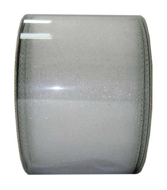 Save the Date 2.5'' X 15' Ribbon-Sheer Glitter Silver