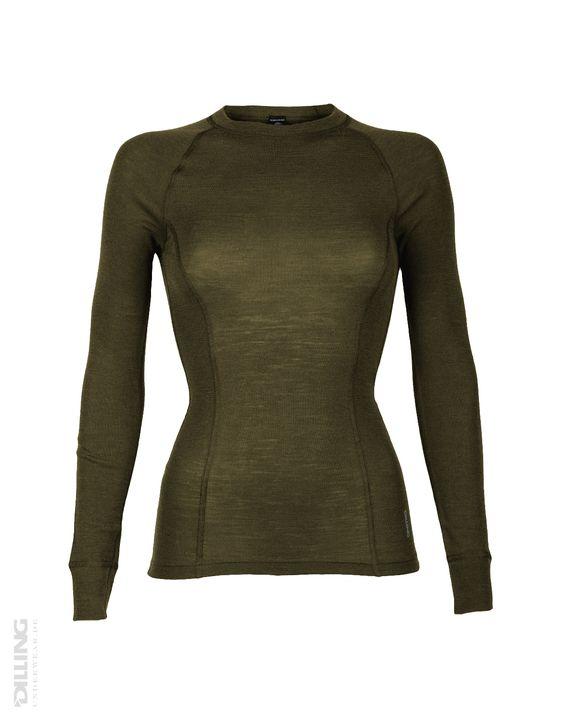 Merinos dames shirt met lange mouwen groen