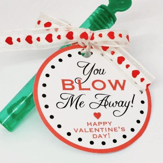 Love is in the air! These adorable mini bubble wand valentines are perfect for your kids class party! And they are a non-candy option, for a sugarless treat! The kit includes valentine cards printed on high quality 110# card stock, mini bubble wands and a satin red ribbon. These are just WAY too cute!