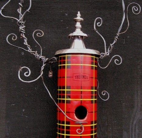 Whimsical plaid Thermos birdhouse | Upcycled Garden Style | Scoop.it