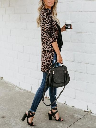 Loose Leopard Print Animal Print Fashion Coat - Cicicloth