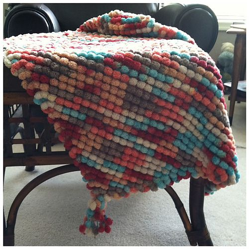 Knitting Pattern For Pom Pom Blanket : Blankets, Ravelry and Pom poms on Pinterest