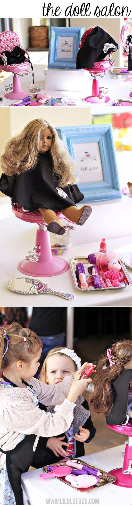 american girl sized salon party station via lilblueboo com