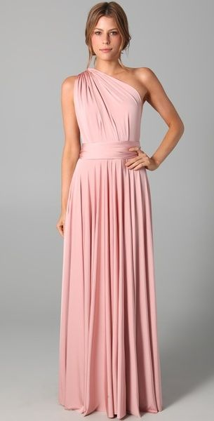 Women&39s Pink Long Convertible Dress  Sexy back One shoulder and ...
