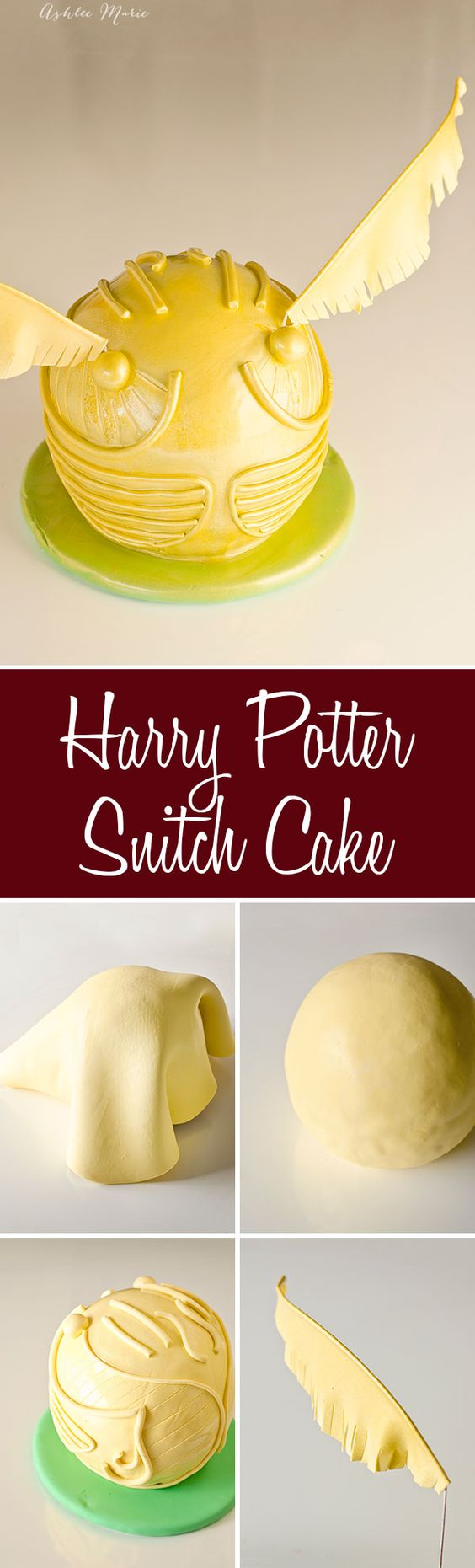 a full tutorial for how to make your own Harry Potter snitch cake